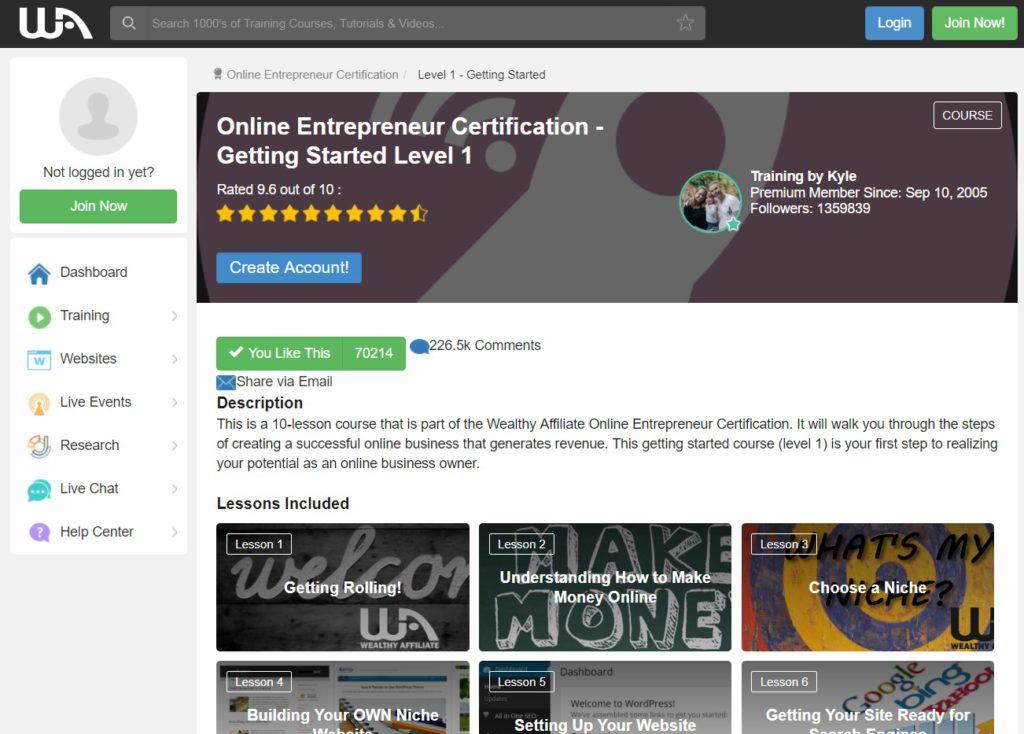 WA - Online Entrepreneur Certification (Screen Capture)